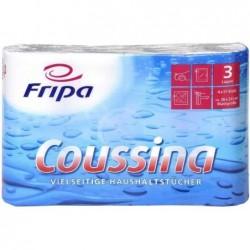 FRIPA Lot de 4 Rouleaux d'essuie-tout Coussina 26x24 cm 3 couches Blanc