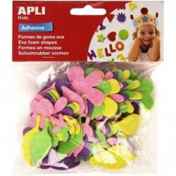 APLI Pochette 48 fleurs en mousse adhésive à paillettes