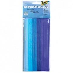 FOLIA Lot 10 Papier de soie (L)500 x (H)700 mm 20 g/m2 Plié 125x250mm Assortiment Bleu