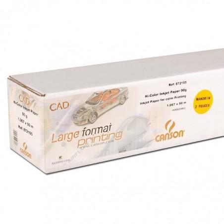 CANSON Rouleau Papier pour Traceur Couleur 90g 1067 mm x 50 m Blanc Opaque