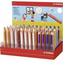 STABILO Présentoir x 48 crayons de couleur multi-talents woody 3in1 + 1 taille-crayon