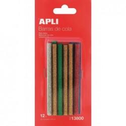 APLI Blister de 12 bâtons de colle couleurs à paillettes assorties pour Pistolet
