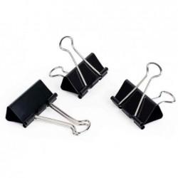 PAVO Lot de 12 Pinces double clip (L)25 mm Ecartement 9 mm Noir