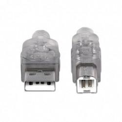 MANHATTAN Câble USB 2.0 A mâle vers USB 2.0 B mâle transparent
