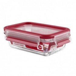 EMSA boîte de conservation CLIP & CLOSE verre, 0,50 litre Rouge