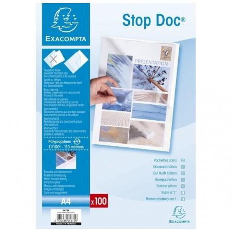 EXACOMPTA Etui carton de 100 pochettes coin Stop doc polypropylène lisse 11x100e A4