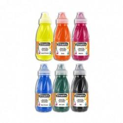 LÉOPÂTRE Lot de 6 flacons en 250 ml Aquarel'Gel , Jaune Primaire, Rouge Vif, Bleu Primaire, Vert Sapin, Noir, Sépia Terre de...