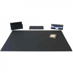 LÄUFER Kit de bureau La Linéa 4 pieces en vachette grainée naturellement Noir