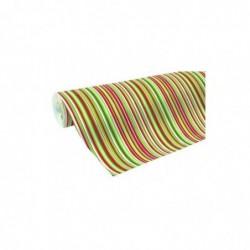 CLAIREFONTAINE Rouleau Papier Cadeau Excelia 0,7 x 2 m rayures rouge/vert/or