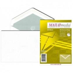 MAILMEDIA Pqt de 100 enveloppes Offset 75g B6 sans fenêtre Gommée Blanc