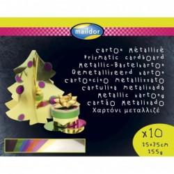 CLAIREFONTAINE Carton métallisé, sachet de 10F ass (10 coul), 25x35cm, 1 face 255g/m²