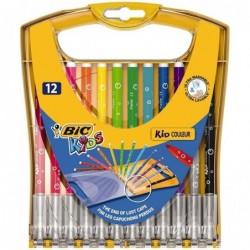 BIC Etui reutilisable x12 - Encre ultra-lavable - Etui breveté avec capuchon intégré
