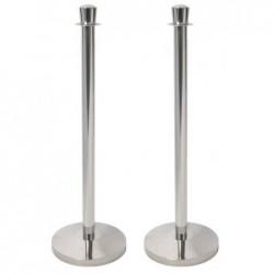 SECURIT Lot de 2 Poteaux d'accueil CLASSIC avec Socle H 95 cm Chrome