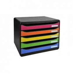 EXACOMPTA Module de classement 5 tiroirs BIG BOX à l'Italienne Noir/ Arlequin