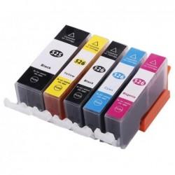 WAYTEX Pack cartouches compatible pour Canon PGI525 noire + 526 noire+3couleurs 21/10ml