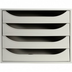 EXACOMPTA ECOBOX Caisson 4 tiroirs Office Gris