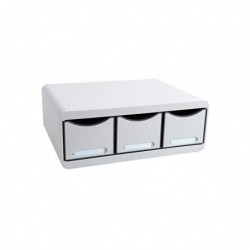 EXACOMPTA TOOLBOX MAXI 3 tiroirs gris lumière