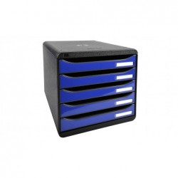 EXACOMPTA Big-Box Plus Caisson à 5 tiroirs pour documents format A4+ Noir/Bleu océan glossy