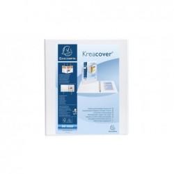 EXACOMPTA Classeur personnalisable Kreacover A4 Maxi 4 Ax Diam 15 mm Dos 38 mm Blanc