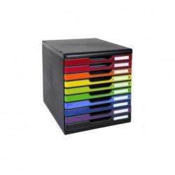 EXACOMPTA Bloc de Classement MODULO A4 10 tiroirs Noir/arlequin glossy