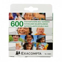 EXACOMPTA Bte de 600 Autocollants Pour Photos Double-face Blanc