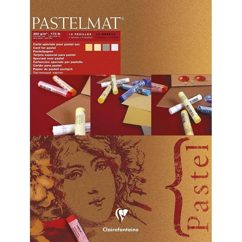 CLAIREFONTAINE Bloc Pastelmat 12 Feuilles 360g 30x40cm couleurs assorties 4 teintes