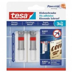 TESA Lot de 2 Powerstrips Vis adhésive pour carrelage/métal 3 Kg Blanc