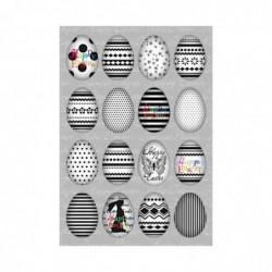 """HERMA Sticker de Pâques TREND """"set d'oeufs noir / blanc"""""""