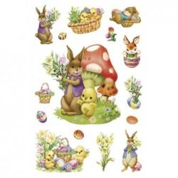"HERMA Stickers de Paques MAGIC ""Lapins nostalgiques"" 1 feuilles 15 stickers"