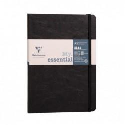 CLAIREFONTAINE My.Essential carnet cousu dos carré 14,8x21cm 192p ligné Noir papier ivoire 90g