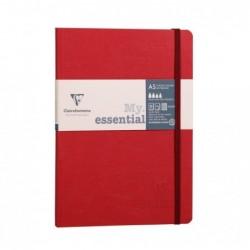 CLAIREFONTAINE My.Essential carnet cousu dos carré 14,8x21cm 192p ligné Rouge papier ivoire 90g