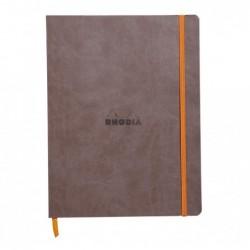CLAIREFONTAINE RHODIARAMA carnet souple CHOCOLAT 19x25cm DOT 160p pap ivoire Clf 90g ferm. élast.
