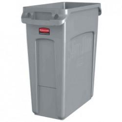RUBBERMAID Collecteur de déchets Slim Jim avec conduits d'aération 60 Litres Gris
