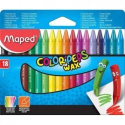 MAPED Crayon de cire COLOR'PEPS WAX, étui en carton de 18