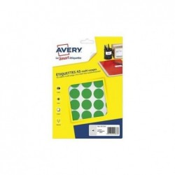 AVERY Sachet de 400 pastilles Ø24 mm. Imprimables. Coloris vert.