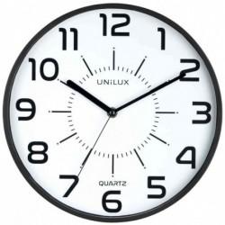 """UNILUX Horloge à quartz """"POP"""" Diam 30 cm Silencieuse Cadre pastique Noir"""