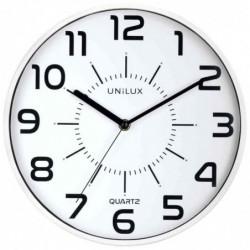 """UNILUX Horloge à quartz """"POP"""" Diam 30 cm Silencieuse Cadre pastique Blanc"""