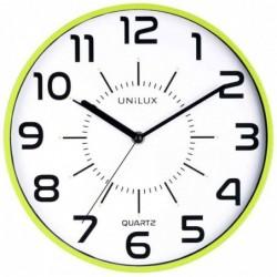 """UNILUX Horloge à quartz """"POP"""" Diam 30 cm Silencieuse Cadre pastique Vert"""