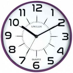 "UNILUX Horloge à quartz ""POP"" Diam 30 cm Silencieuse Cadre pastique Violet"
