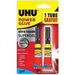 UHU Colle instantanée POWER GLUE ultra rapide SUPERGEL, 3 g