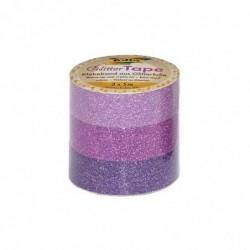 "FOLIA Lot de 3 Ruban adhésif déco ""Glitter Tape"" 15mm x 5 m Rose/ rose vif/ Violet"