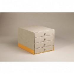 RHODIA Rhodiarama Trieur 4 tiroirs en simili cuir italien 24,8 x 32,7 x 22,8 cm Beige
