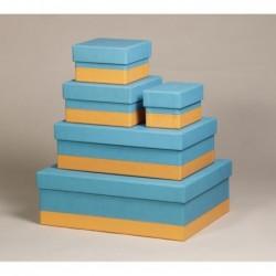 RHODIA Set 5 boîtes gigognes Turquoise 44x34x16cm