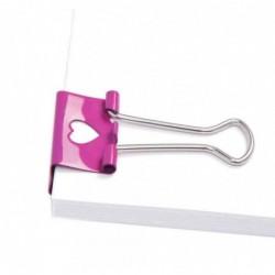 RAPESCO Lot de 20 Pince double clip (L)19 mm Ep 7 mm Rose Coeur