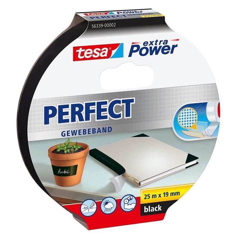 TESA Ruban toilé adhésif Extra power 19 mm x 25 m Noir