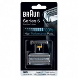 BRAUN Piece De Rechange compatible avec les rasoirs Series 5- BRAUN 51S Argentée