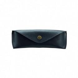 ALASSIO étui à lunettes en cuir véritable, petit, env. 16 x 5,5 x 3 cm Noir