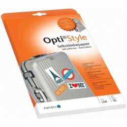 OPTI Papier adhésif Opti Style, A4, blanc, 80 g/m2 , 10 feuilles