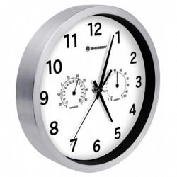 BRESSER MyTime Horloge radiocommandée avec thermo et hygromètre 25 cm Acier / Blanc