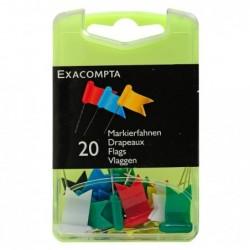 EXACOMPTA Boîte de 20 épingles drapeaux 16mm Couleurs assorties